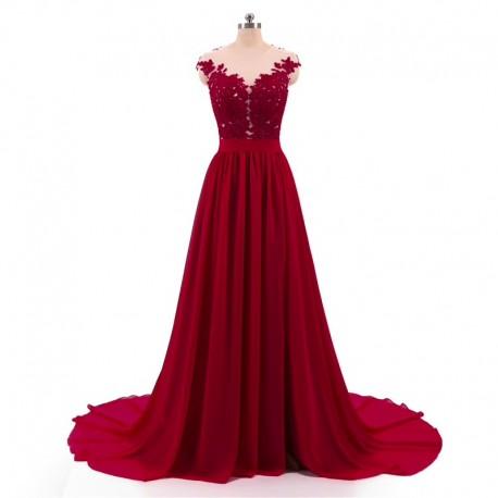 červené vínové antické společenské šaty na ramínka Lota M