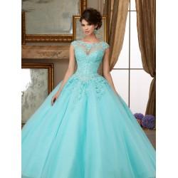 nebesky modré plesové šaty s tylovou sukní Denova L-XL