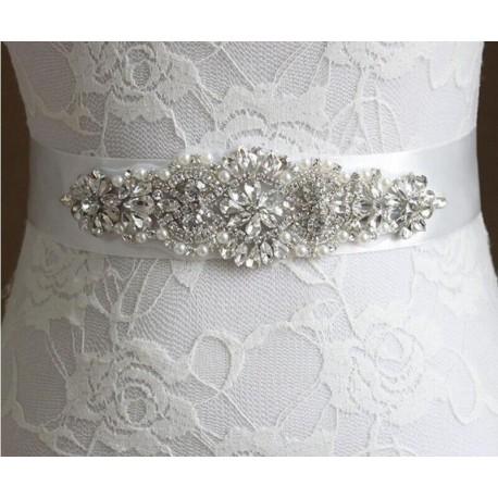 saténová stuha štrasová ozdoba svatebních šatů - čistě bílá S02