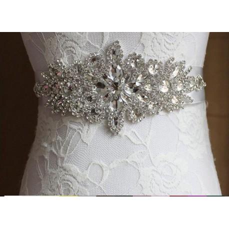 saténová stuha štrasová ozdoba svatebních šatů - čistě bílá S03