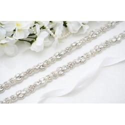 saténová stuha štrasová ozdoba svatebních šatů - čistě bílá S06