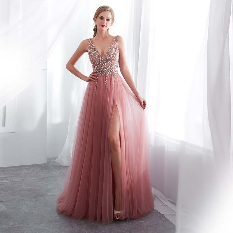 ... luxusní sexy tylové plesové šaty s rozparkem Alicia XS-S růžové ... 30b62be209