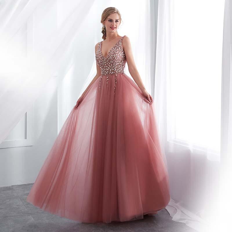 eb905746f259 ... luxusní sexy tylové plesové šaty s rozparkem Alicia XS-S růžové ...