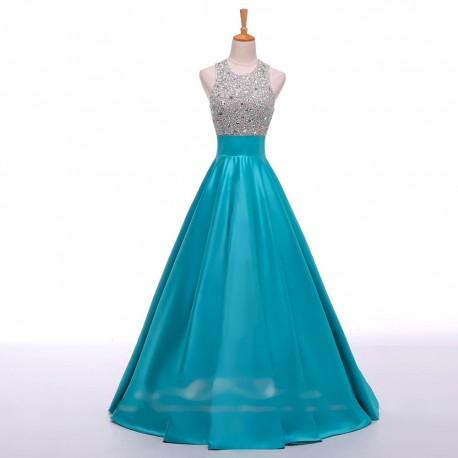 Světle modré tyrkysové plesové šaty na maturitní ples saténové 838ba0630f