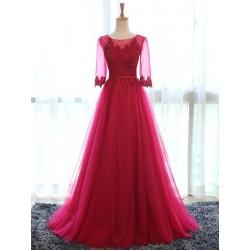 červené plesové šaty s tylovou sukní a rukávky Silvia L-XL