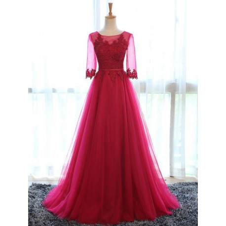 Červené plesové tylové šaty na maturitní ples s rukávky L-XL 944bd01e368