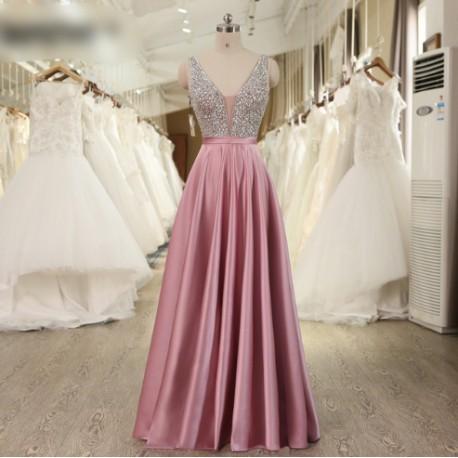 luxusní růžové plesové šaty saténové Vinona XS
