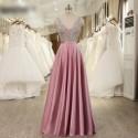 luxusní růžové plesové šaty saténové Vinona S-M