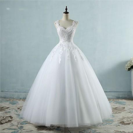 luxusní tylové bílé svatební šaty Valérie XL-XXL
