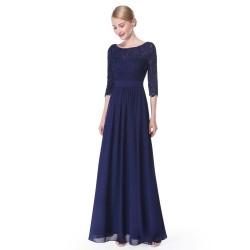 tmavě modré dlouhé společenské šaty s rukávky XXL