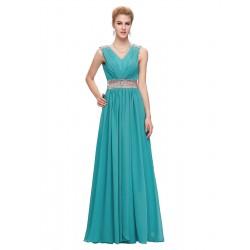 tyrkysové modré dlouhé společenské šaty na ramínka Donatella XXL-3XL