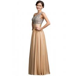 dlouhé plesové champagne svatební šaty Eva XL