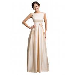 champagne dlouhé saténové plesové šaty Anike S