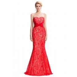 červené krajkové plesové sexy šaty s holými zády S