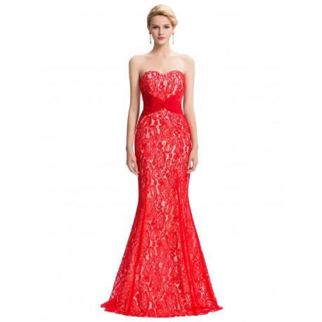 98afa33a3913 červené krajkové plesové sexy šaty s holými zády S