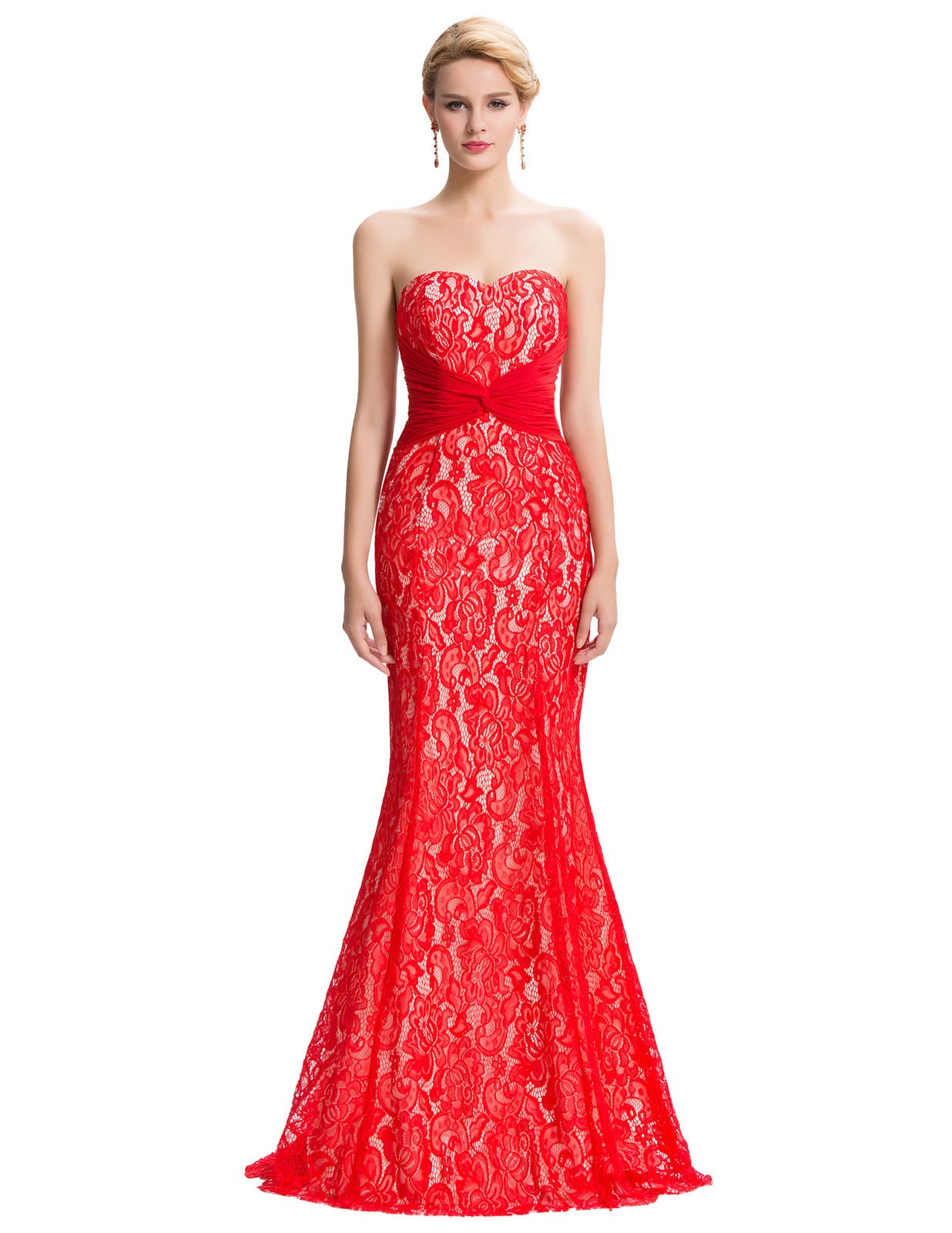 Sexy červené plesové šaty krajkové upnuté na tělo 6ec1e4b4f6