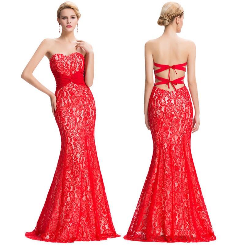 622f00f4b3b4 ... červené krajkové plesové sexy šaty s holými zády S ...