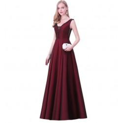 tmavě červené dlouhé plesové šaty na ramínka Wanda L-XL