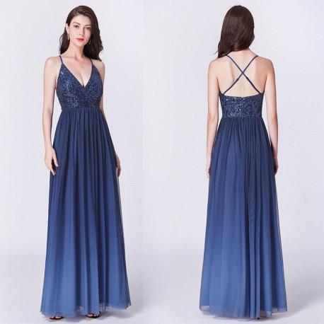 6111b47ba Ombré modré společenské šaty na ples na ramínka