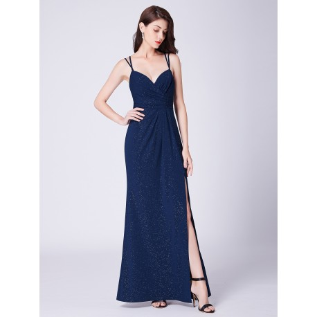 tmavě modré dlouhé plesové šaty na ramínka s rozparkem Annie S - Hollywood  Style E-Shop - plesové a svatební šaty f190c89e47