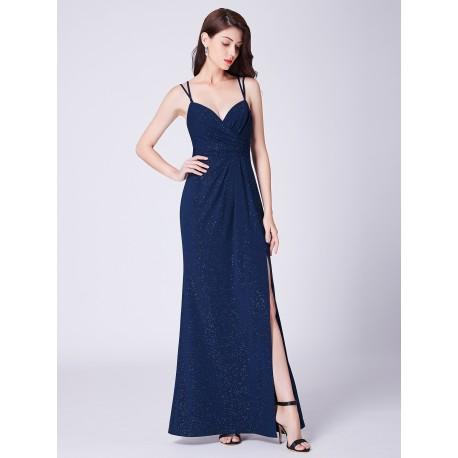 tmavě modré dlouhé plesové šaty na ramínka s rozparkem Annie S