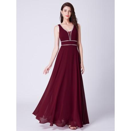 dlouhé vínové společenské šaty na ramínka Evita XL