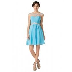 krátké světle modré společenské šaty do tanečních S-M