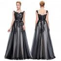 dlouhé černé krajkované plesové šaty Venezia M
