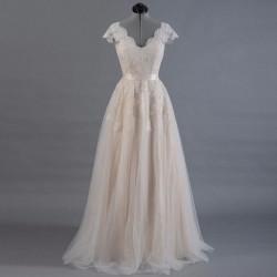 tylové champagne svatební šaty s krajkou M