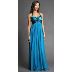 Modré večerní dlouhé šaty na míru