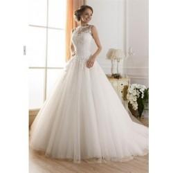 18a78a5a2c1b luxusní svatební šaty s bohatou tylovou sukní a krajkovým živůtkem Merista L -XL