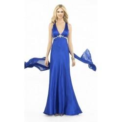 Modré dlouhé společenské šaty na míru