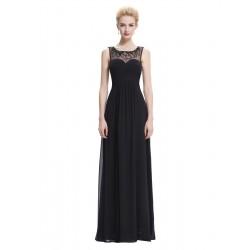 dlouhé černé společenské šaty s tylovými ramínky XS