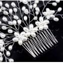 Perličkový stříbrný hřebínek do svatebního účesu - extra bohatý