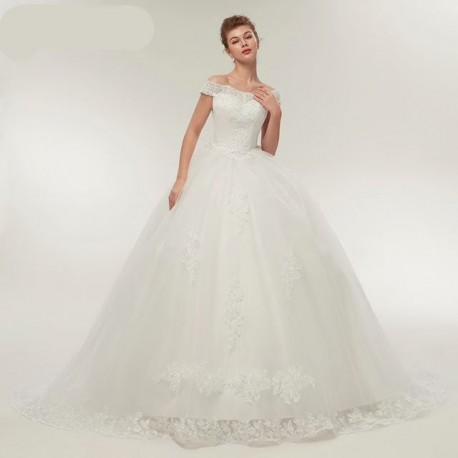 Nové krémové svatební šaty princeznovské s extra bohatou sukní a vlečkou  XS-S 9bc75f45d7