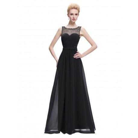 dlouhé černé společenské šaty s tylovým živůtkem Fernanda L