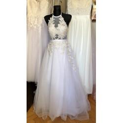 čistě bílé tylové svatební šaty za krk Elisabeth XS-S