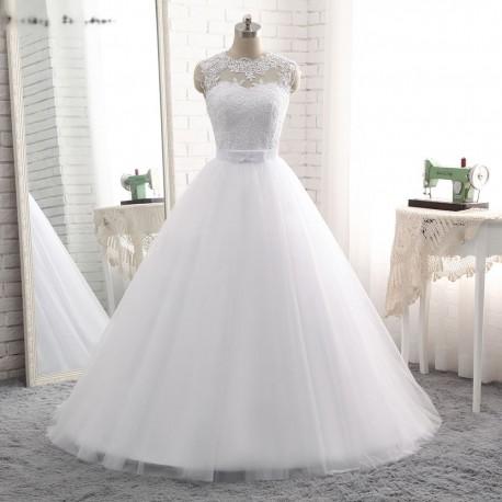nádherné tylové svatební šaty s krajkovým živůtkem XL-XXL