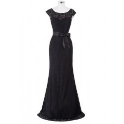 dlouhé černé krajkové upnuté společenské šaty na ples Linda XXL