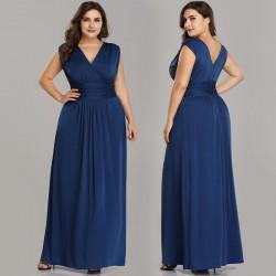 dlouhé modré pohodlné společenské šaty 4XL-5XL1