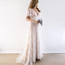 champagne svatební šaty krajkované Boho s rukávky XS