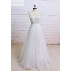 bílé tylové boho svatební šaty na ramínka Ronnie XS