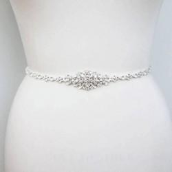saténová stuha štrasová ozdoba svatebních šatů -  krémová
