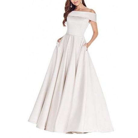 Nové čistě bílé klasické saténové svatební šaty na ramínka Tina XL-XXL 109221cf66