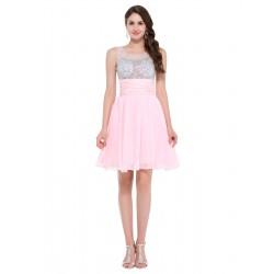 krátké růžové společenské šaty do tanečních Tina XS