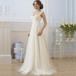 krémové antické tylové svatební šaty na ramínka Jolana XS-S