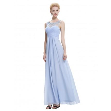 dlouhé modré společenské šaty s tylovými ramínky XS