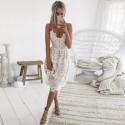 krátké bílé letní šaty na špagetová ramínka S-M