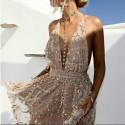 krátké zlaté letní nebo společenské šaty XS-S