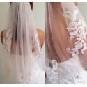 svatební závoj tylový zdobený krajkou a kamínky - výběr barev